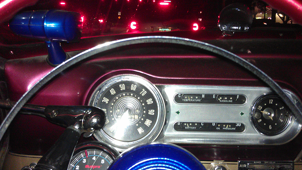 1953 Chevy Belair Custom out on the town dash view
