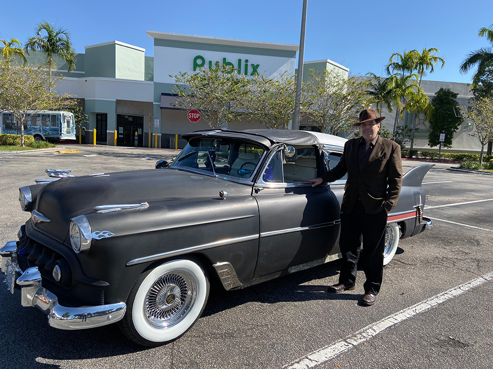 """Chris Pinto with his 53 Chevy Custom """"Stardust"""", Thanksgiving breakfast 2019"""
