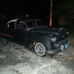 "1953 Chevy Hot Rod Custom Belair ""Stardust"" at night"