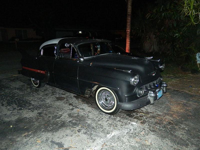"1953 Chevy Hot Rod Custom Belair ""Stardust"" at night"