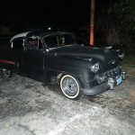 "1953 Chevy Hot Rod Custom Belair ""Stardust"" at night before gloss paint job"