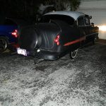 "53 Chevy Custom Belair Hotrod ""Stardust"" at night before gloss paint job"