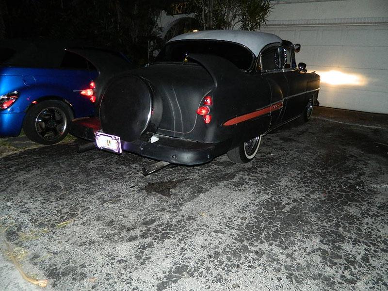 "53 Chevy Custom Belair Hotrod ""Stardust"" at night before gloss paint job"