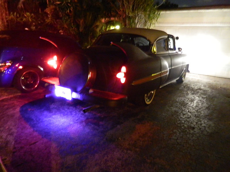 "59 CAddy tail lights lit up 53 Chevy Custom Belair Hotrod ""Stardust"" at night before gloss paint job"