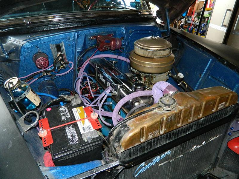 "engine 2012 53 Chevy Custom Belair Hotrod ""Stardust"" Fins before gloss paint job"