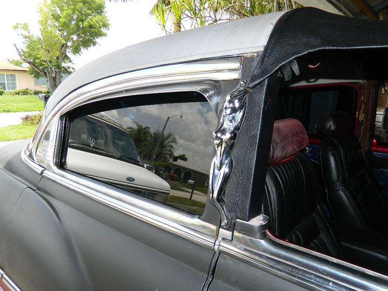 "closeup fenton headers clifford 53 Chevy Custom Belair Hotrod ""Stardust"" Fins before gloss paint job"