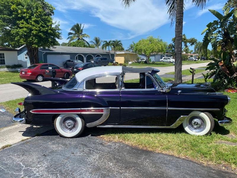 "side shot 1953 Chevy Hot Rod Custom Belair ""Stardust"" in the sun"