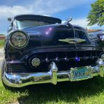 """front 1953 Chevy Hot Rod Custom Belair """"Stardust"""" in the sun"""