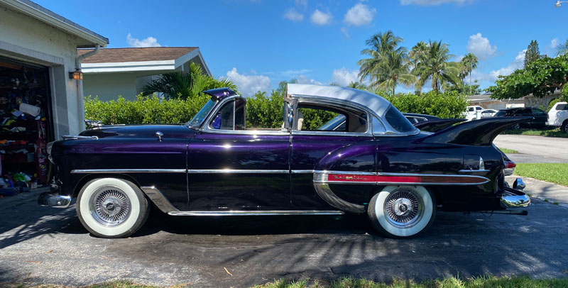 "1953 Chevy Hot Rod Custom Belair ""Stardust"" showing purple pearl paint in the sun"