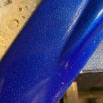closeup of blue metallic on original engine fan