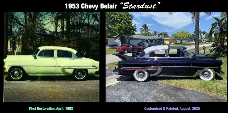 "1953 Chevy Hot Rod Custom Belair ""Stardust"" then and now 1992-2020"