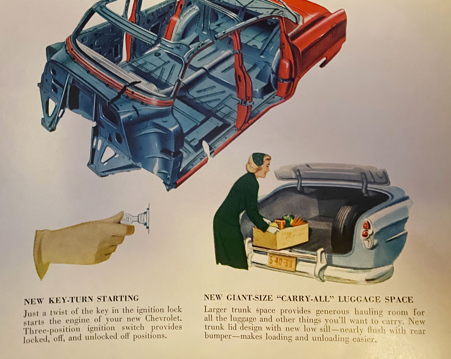 1953 Chevy sales brochure photo trunk and construction