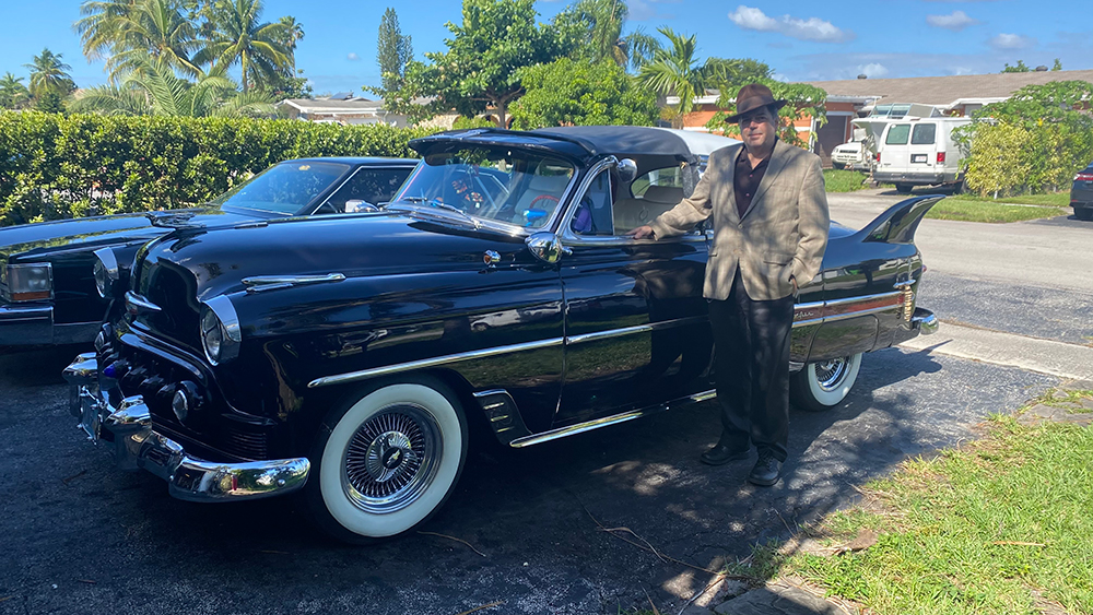 Christopher Pinto with his freshly painted 1953 Chevrolet Belair Custom Hot Rod, Thanksgiving Day, 2020